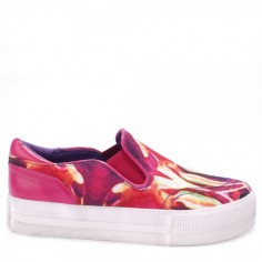 Ash Jungle Bis Bordeaux and Yellow Slip-On Trainers