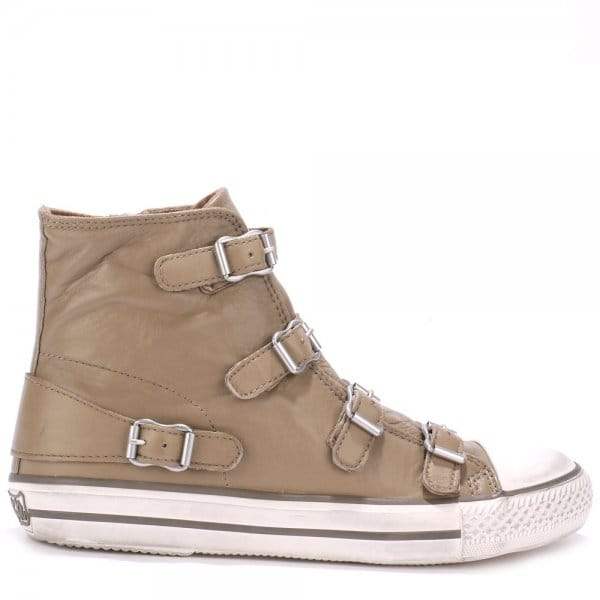 Ash VIRGIN taupe leather buckle trainers