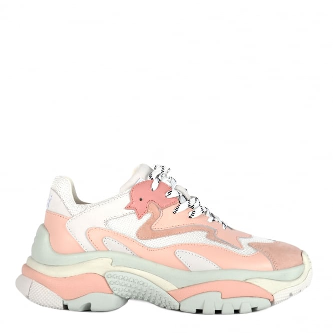 Ash ADDICT Platform Trainers Blush Pink Leather & White Mesh
