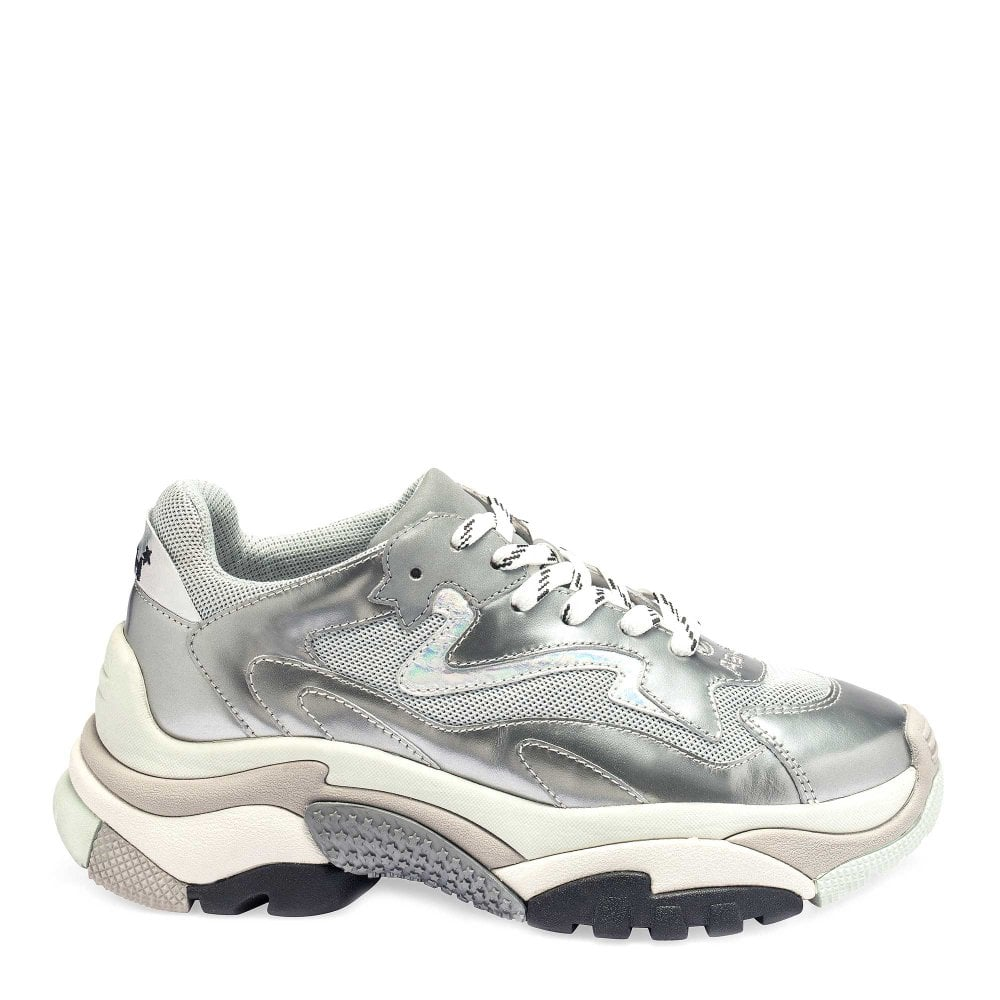 57e90f7381a ADDICT Sneakers Silver Leather & Grey Mesh