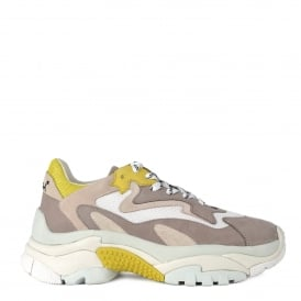 ADDICT Trainers Grey Leather & Yellow Mesh