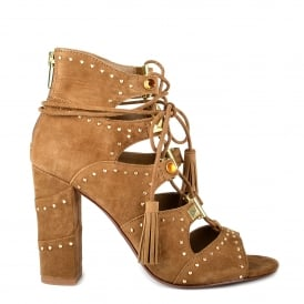 ALEXA Lace Up Sandals Russet Suede & Bronze Studs