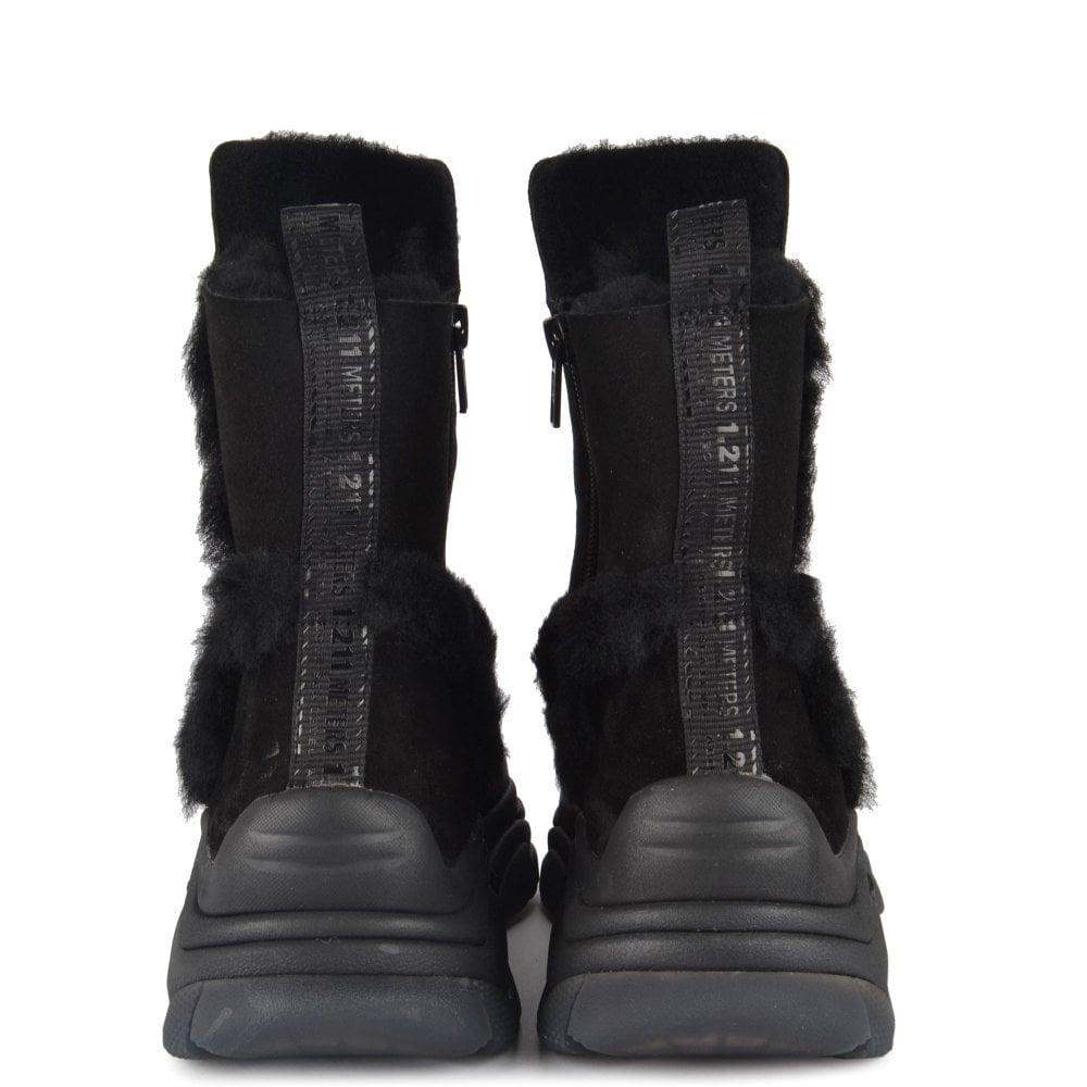 Black Suede Trainer Boots   Ash