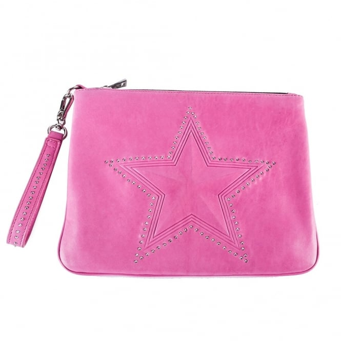 Ash ASTRA Clutch Bag Fuxia Leather