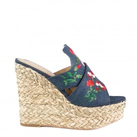 BAHIA Wedge Mules Blue Embroidered Denim
