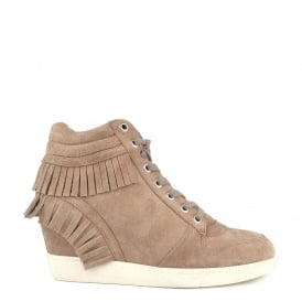 BEATNIK Wedge Trainers Cocco Suede