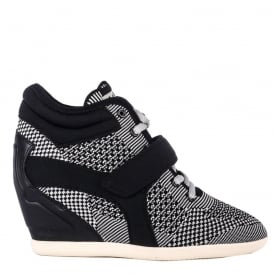 BEBOP Wedge Trainers Marble Grey Knit & Neoprene