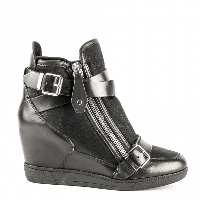 Ash BELUGA Wedge Trainers Black Suede & Leather