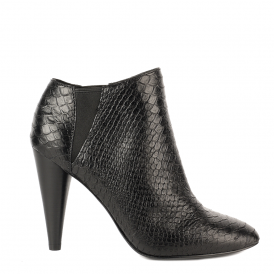 BEVERLY Boots Black Python Textured Leather
