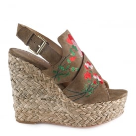 BIKINI Embroidered Wedge Espadrilles Wilde Suede