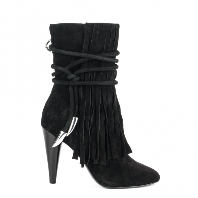 Ash BIRD Boots Black Fringed Suede