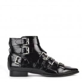 BLAST Buckle Boots Black Vinyl Leather