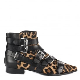 BLAST Buckle Boots Leopard Print and Black Leather