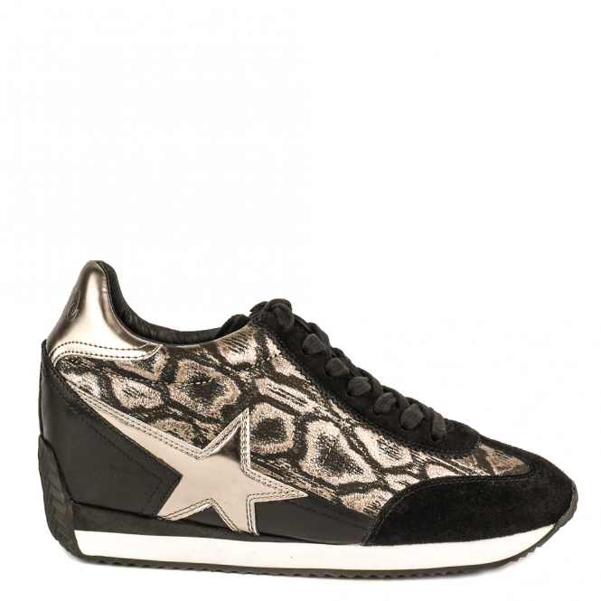 Ash BLAST Low-Wedge Trainers Black Suede & Snake Print Fabric