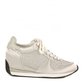 BLUSH BIS Low-Wedge Trainers Marble Satin & Silver