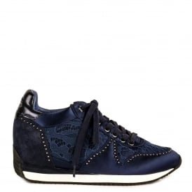 BLUSH Low-Wedge Trainers Navy Blue Satin & Lace