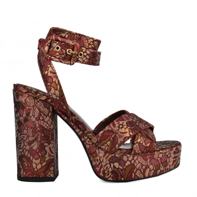 Ash BOOM Platform Sandals Bordeaux Brocade