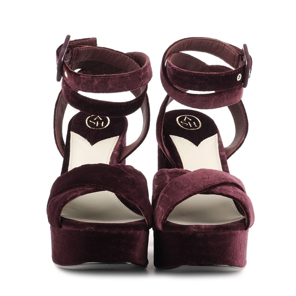 7e0348076e60 Shop 70 s Boom Sandals in Purple Velvet at Ash Footwear Online Today