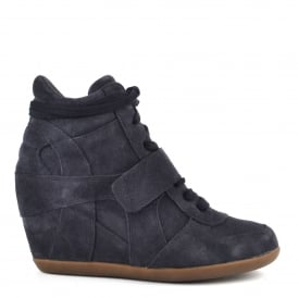BOWIE BIS Wedge Trainers Midnight Blue Suede