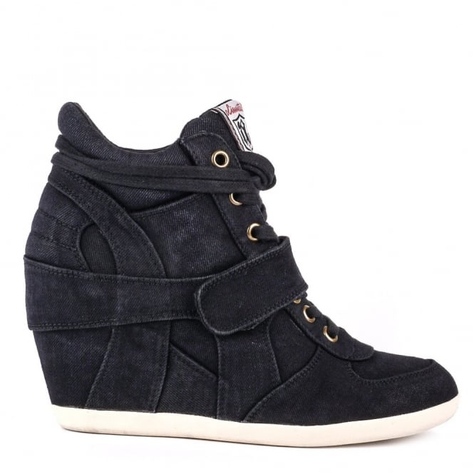 Ash BOWIE Hi-Top Wedge Trainers Black Denim