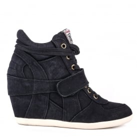 BOWIE Hi-Top Wedge Trainers Black Denim