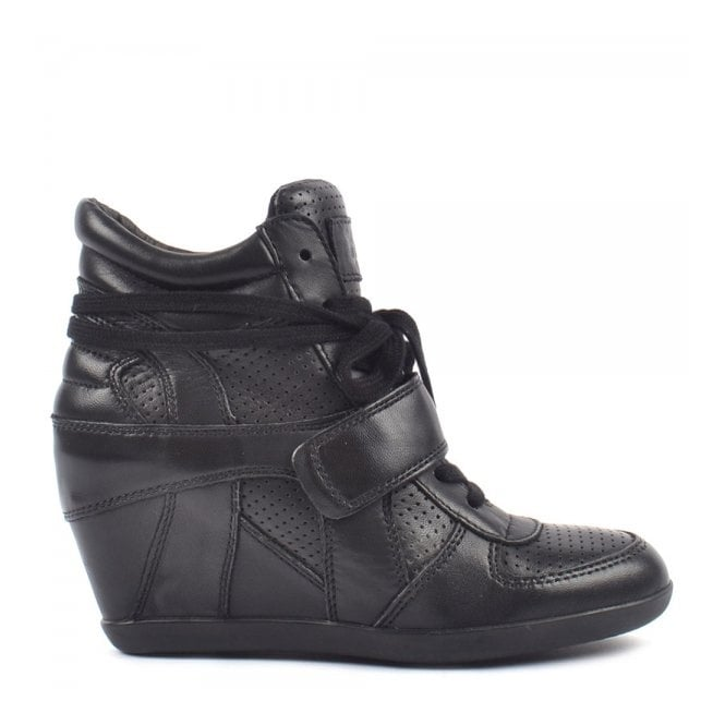 Ash BOWIE Hi-Top Wedge Trainers Black Leather