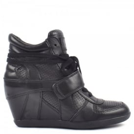 BOWIE Hi-Top Wedge Trainers Black Leather