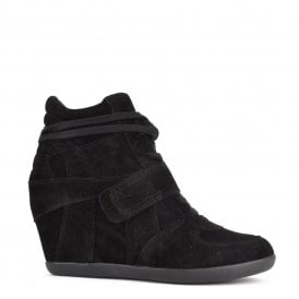 BOWIE Hi-Top Wedge Trainers Black Suede Black Sole