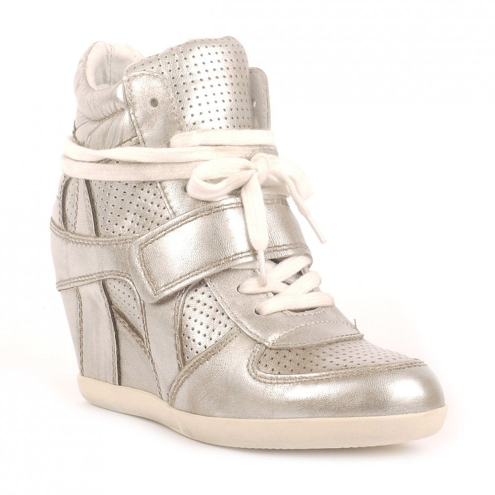 54b1a5faf0b9 Ash BOWIE TER silver high-top wedge trainers