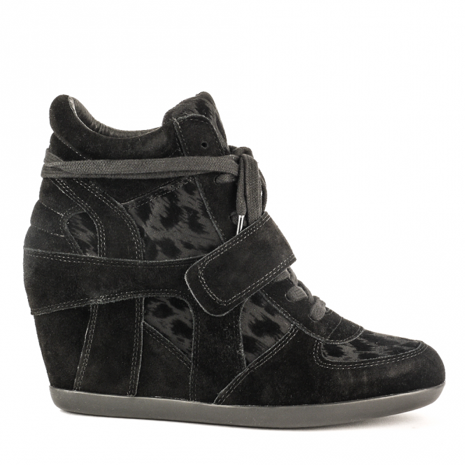 Ash BOWIE Wedge Trainers Black Suede & Leopard Print