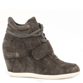 BOWIE Wedge Trainers Smoke Grey Suede