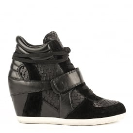 BOWIE Wedge Trainers Textured Black Leather & Suede
