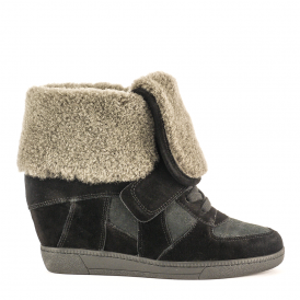 BRANDY Fur Trimmed Wedge Trainers Black Suede