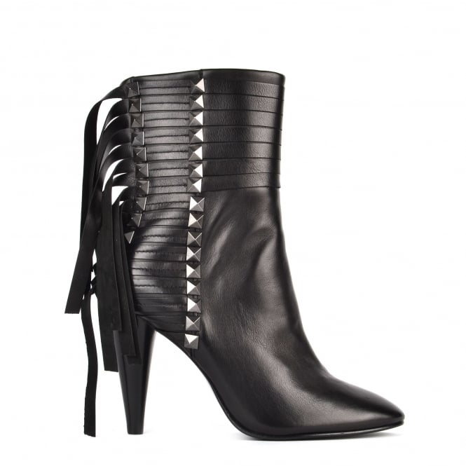 Ash BRAVE Heeled Calf Boots Black Leather & Gunmetal Studs
