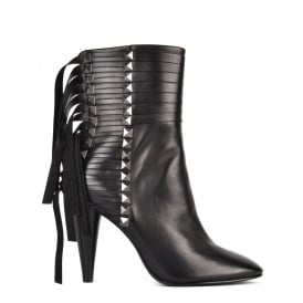 BRAVE Heeled Calf Boots Black Leather & Gunmetal Studs
