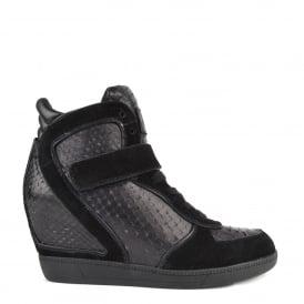 BRENDY BIS Wedge Trainers Black Suede & Textured Leather