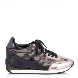 BULLET Low-Wedge Trainers Camo Print & Silver