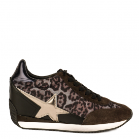 BULLET Low-Wedge Trainers Smoke Grey Suede & Leopard Print