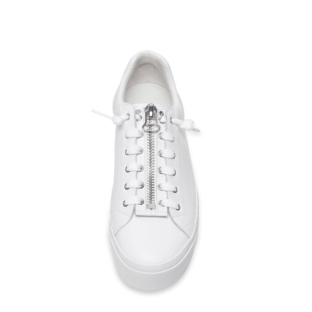 45cb3125721 BUZZ Platform Trainers White Leather