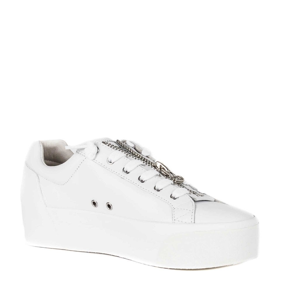 e67baad91de1 BUZZ Platform Trainers White Leather