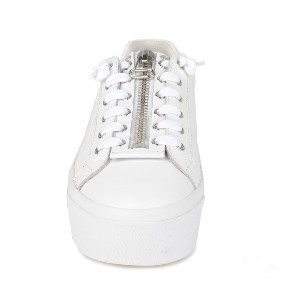 b1f7121566cc BUZZ Platform Trainers White  amp  Silver Leather