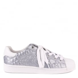 COSMIC Star Embossed Trainers Silver Leather