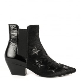 CRISTAL Star Pattern Boots Black Pony Hair & Vinyl Leather