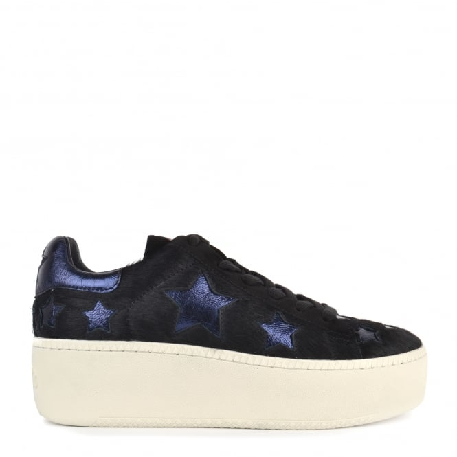 Ash CULT STAR Trainers Black Pony Hair & Midnight Leather