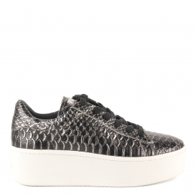 CULT Trainers Black & Piombo Textured Leather