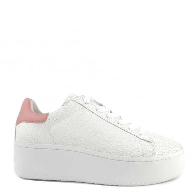 Ash CULT Trainers White Cracked Leather & Blush Pink