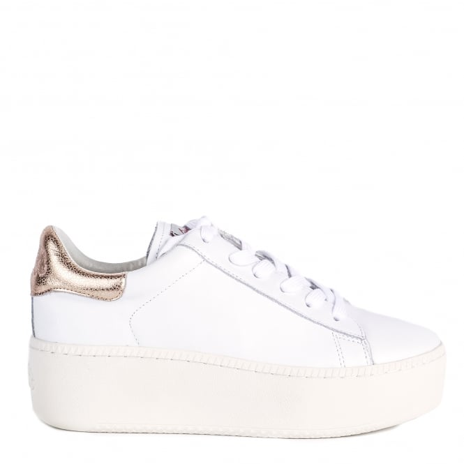 Ash CULT Trainers White Leather & Metallic Pink
