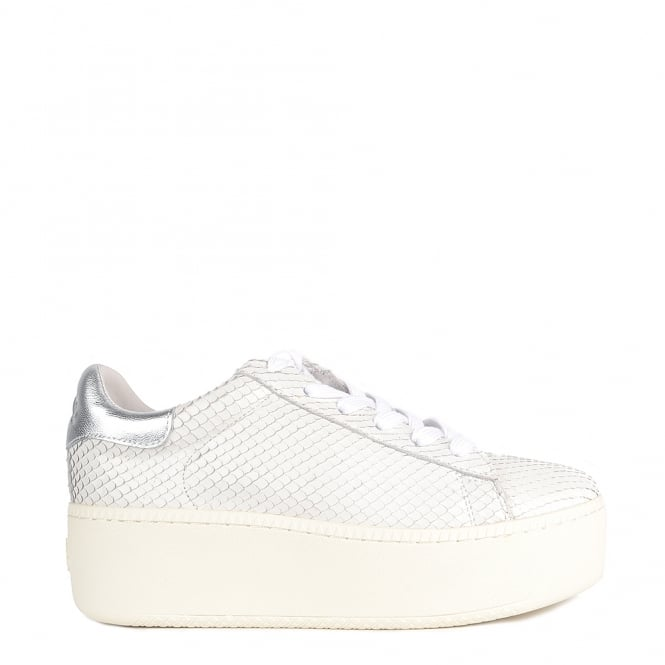 Ash CULT Trainers White Python Textured Leather