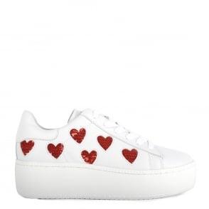 Ash CUTE Trainers White Leather & Red Heart Sequins