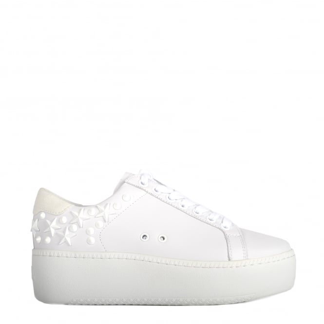 Ash CYBER Studded Trainers Snow White Leather & Suede